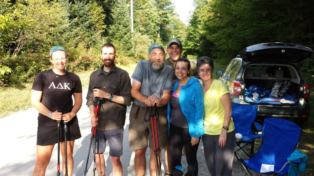Grad student Jen (in blue next to me) with her aunt and uncle, providing trail magic and lots of smiles