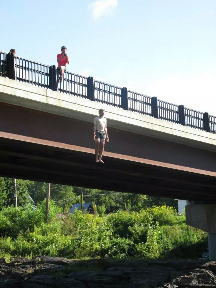 Taken an instant after I jumped off a bridge in Vermont. Weird floating effect...