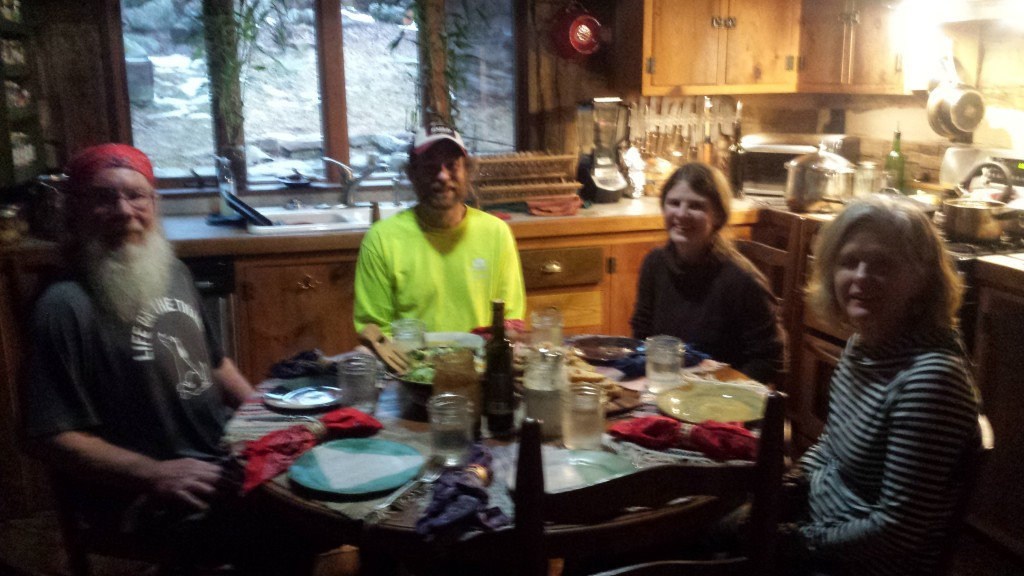 The picture is blurry but Neville's organic cooking was spot on. Kitchen dinner with Papa Bear, Kickit, Neville and Sue at Wood's Hole Hostel