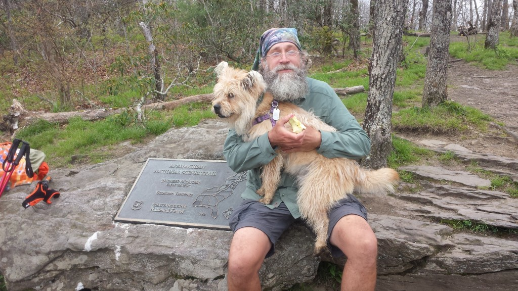 Me and Yello, photo by Mello. Best hiking dog I encountered on the trail
